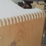 Finger-joints on a Fender Tweed Pro Amplifier
