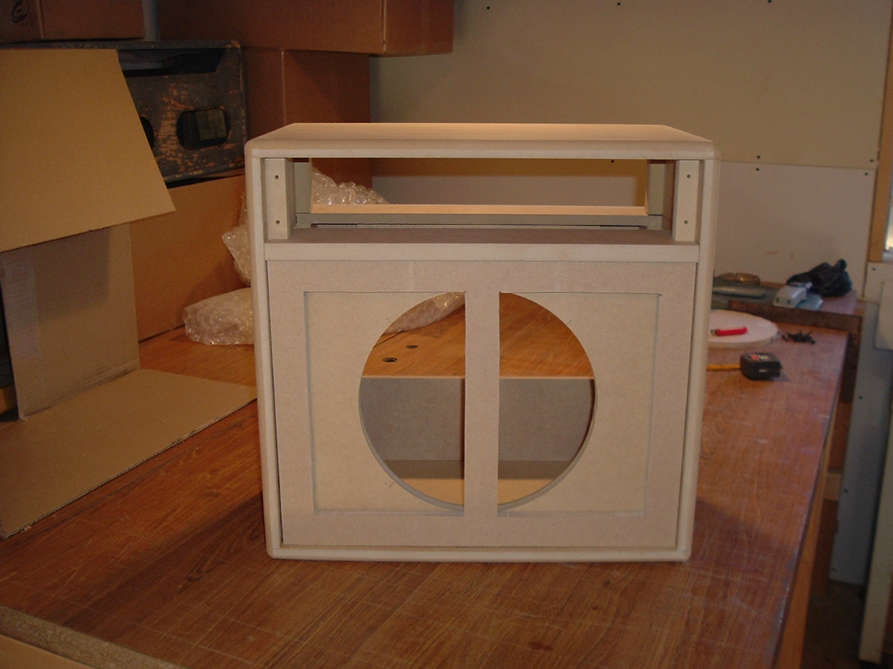 prototype cabinet in mdf made for first act armadillo amp works